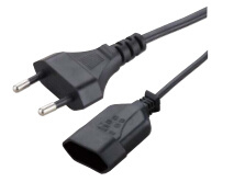 VDE Approved European 2-Pin Power Cord